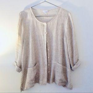 J JILL PURE Linen Button-Front Tunic / Cardigan